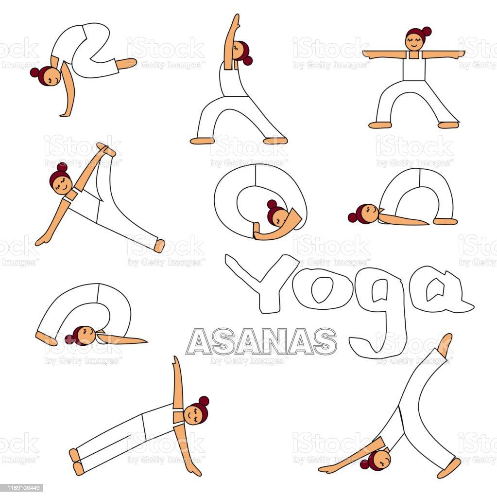 Yoga Asanas Icons Illustration Stock Illustration Download Image Now Istock