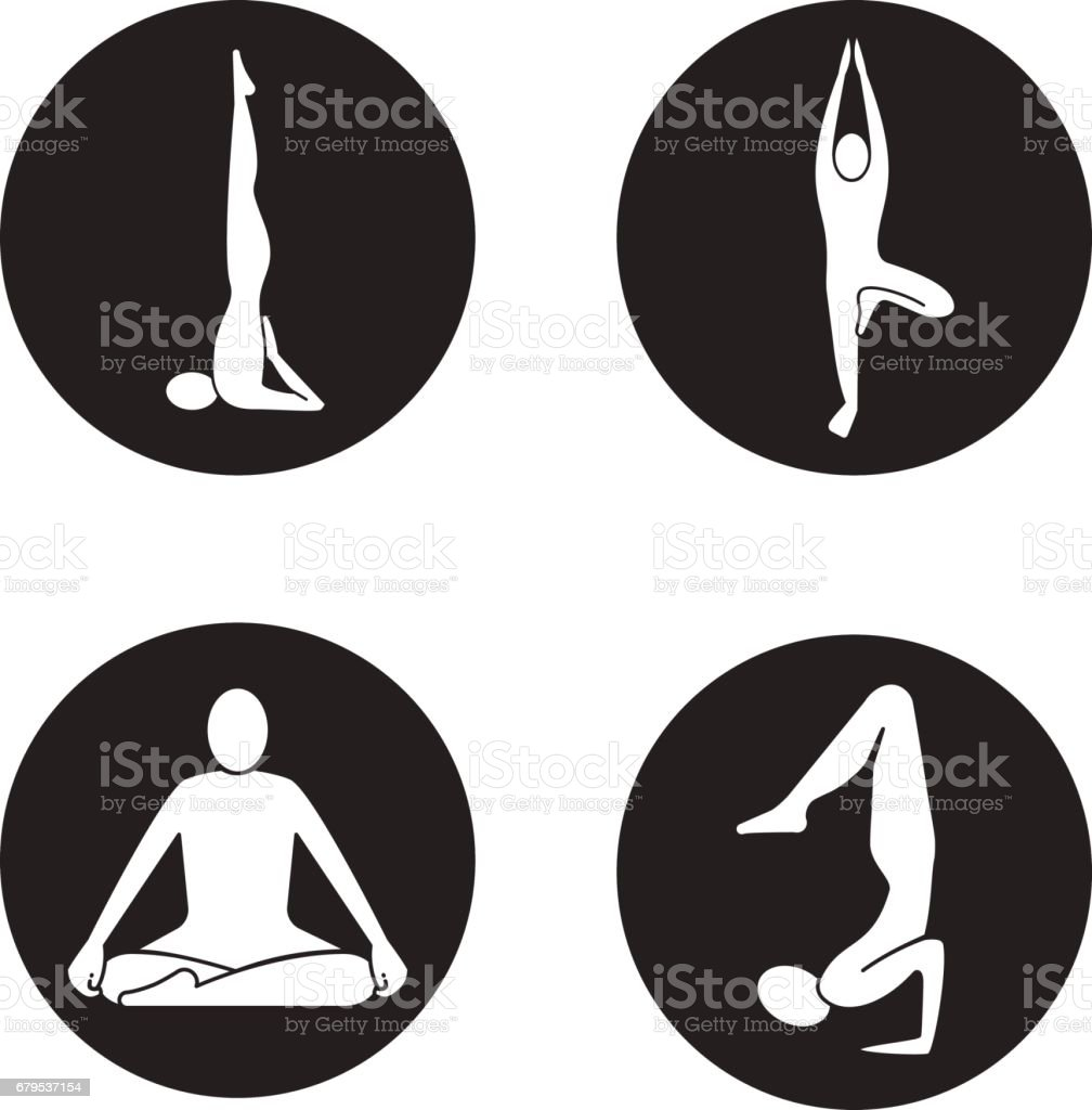 Yoga asanas icons vector art illustration