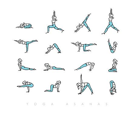 Yoga asanas pen line color