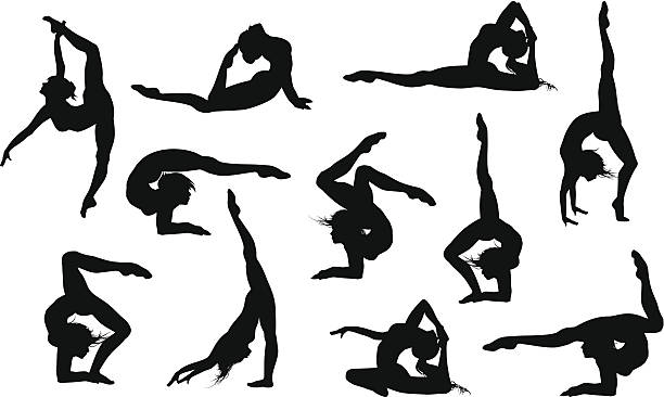 yoga asana's silhouettes - gymnastics stock illustrations, clip art, cartoons, & icons