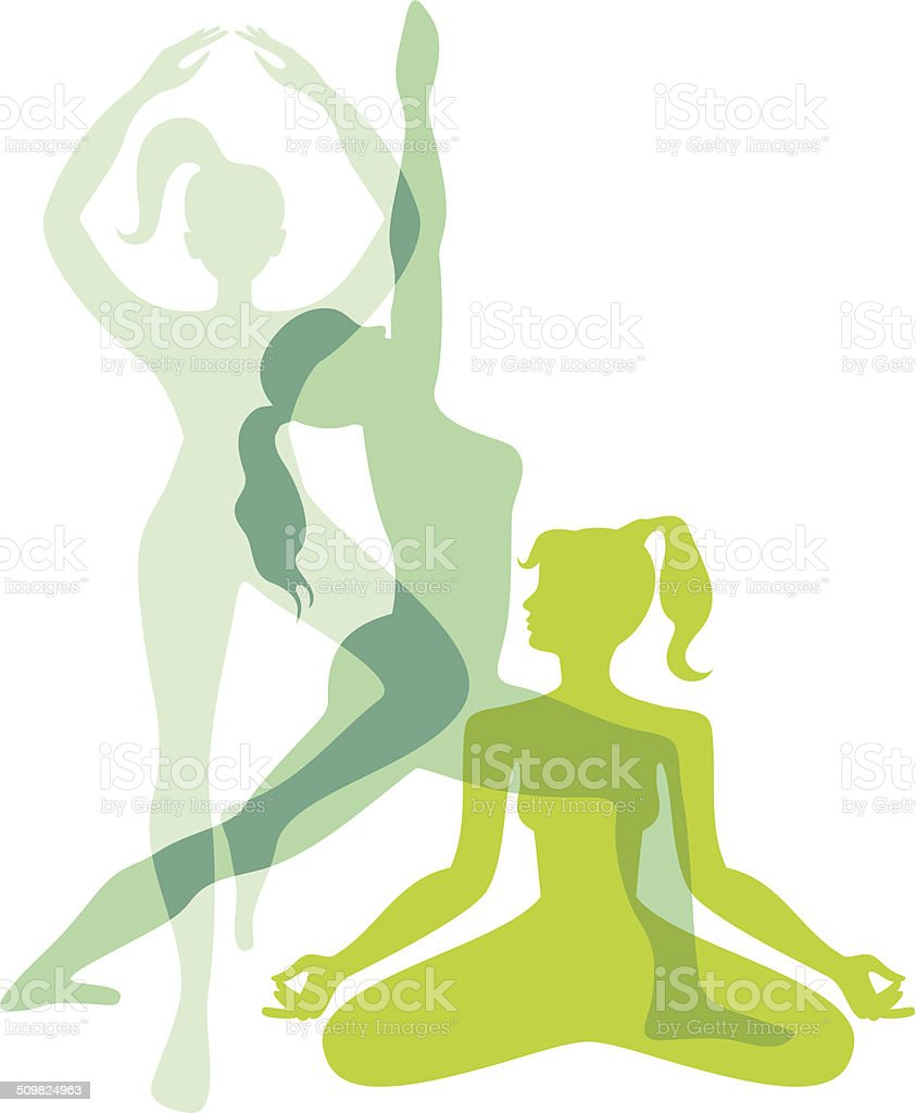 Yoga asanas vector art illustration