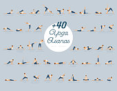 Vector illustration of +40 Yoga Asanas with names