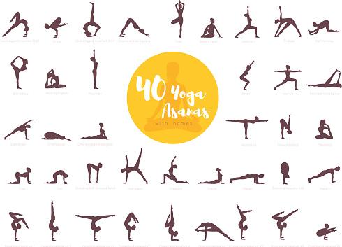 40 Yoga Asanas Med Namn-vektorgrafik och fler bilder på Aktiv livsstil