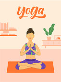 Yoga at home illustration with beautiful young girl sitting in a pose and modern interior on background. Pose 3 of 3.