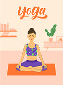 Yoga at home illustration with beautiful young girl sitting in a pose and modern interior on background. Pose 1 of 3.