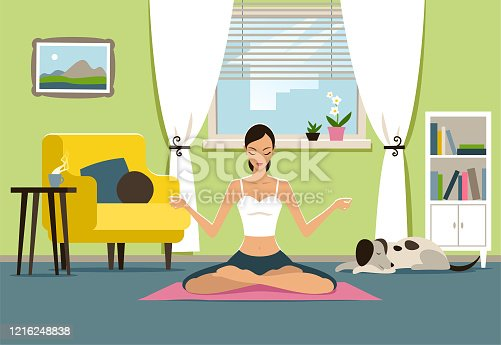 istock Yoga at home 1216248838