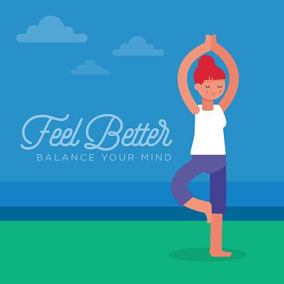 Yoga Evenwicht Stockvectorkunst en meer beelden van Actieve levenswijze