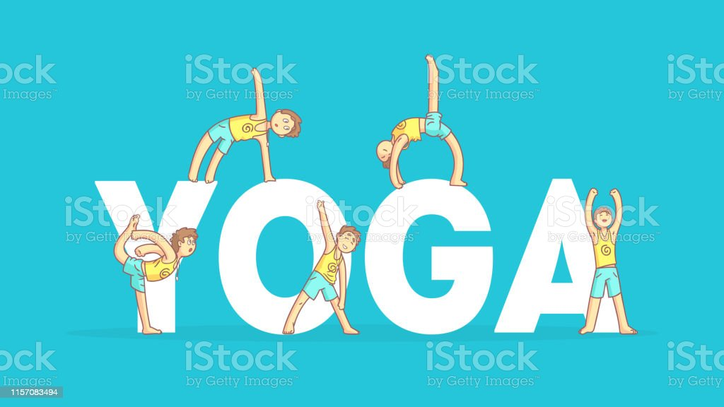 Yoga Banner Template Boy Practicing Asana Poses Yoga Class Healthy Lifestyle Vector Illustration Stock Illustration Download Image Now Istock