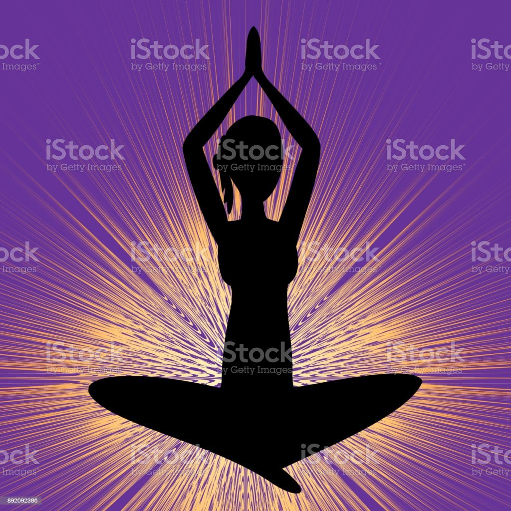 Yoga Banner With Sitting Girl Silhouette Black Figure On Purple Background With Brilliant Yellow Rays Stock Illustration Download Image Now Istock