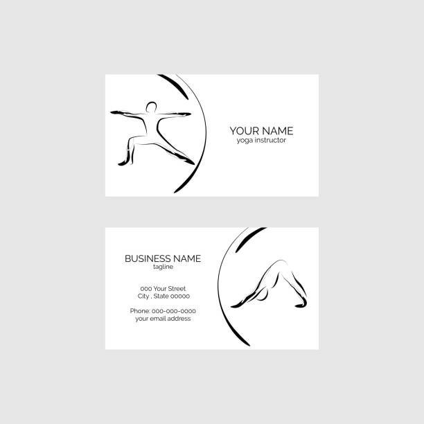 yoga business card - personal trainer stock illustrations, clip art, cartoons, & icons