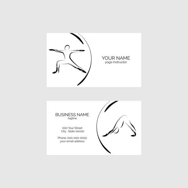 ilustrações, clipart, desenhos animados e ícones de cartão de visita de ioga - personal trainer