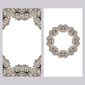 Yoga card template with floral frame pattern. For business card, fitness center, meditation class.