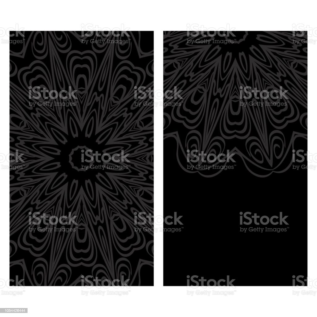 Yoga Card Template With Mandala Pattern For Business Card Fitness