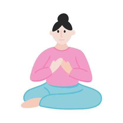 Yoga Cartoon Style Icon. Colorful Symbol Vector Illustration