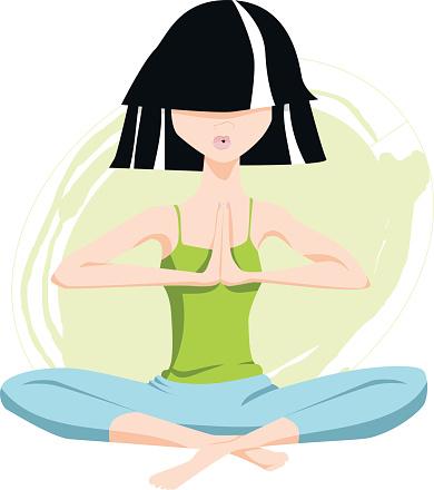 yoga character in lotus pose hands in namaste stock