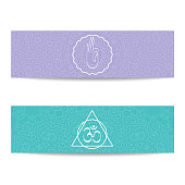Yoga banner template. Set of horizontal purple and turquoise flyers with chakra and mandala symbols. Design for yoga banner, studio, spa, classes, poster, invitation, gift certificate and presentation