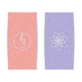 Yoga banner template. Set of vertical pink and purple flyers with chakra and mandala symbols. Design for yoga banner, studio, spa, classes, poster, invitation, gift certificate and presentation
