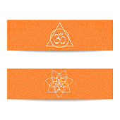 Yoga class template. Set of horizontal orange flyers with chakra and mandala symbols. Design for yoga class, studio, spa, center, classes, magazine, invitation, gift certificate and presentation