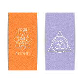 Yoga studio template. Set of vertical orange and purple flyers with chakra and mandala symbols. Design for yoga studio, spa, center, classes, magazine, invitation, gift certificate and presentation