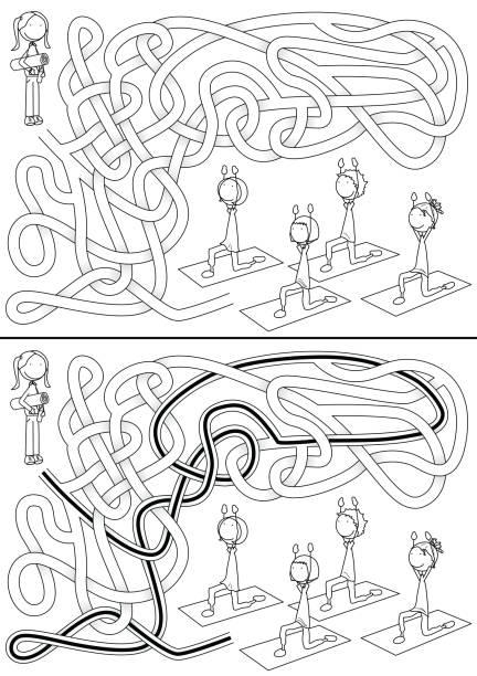 Aula de ioga labirinto - ilustração de arte em vetor