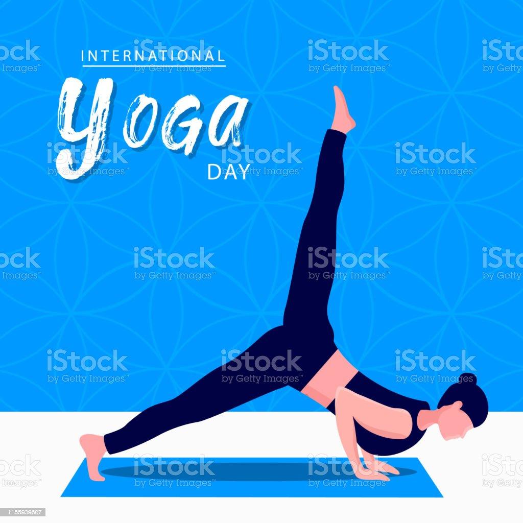 Carte De Jour De Yoga De Femme Dans La Pose De Méditation