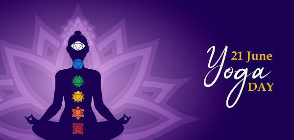 Yoga Day meditation banner of person in lotus pose