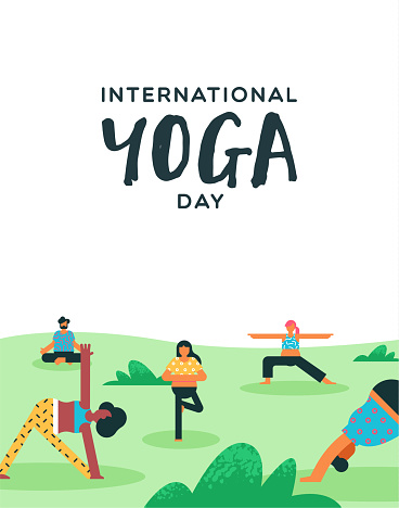 Yoga Day poster of people doing exercise in park