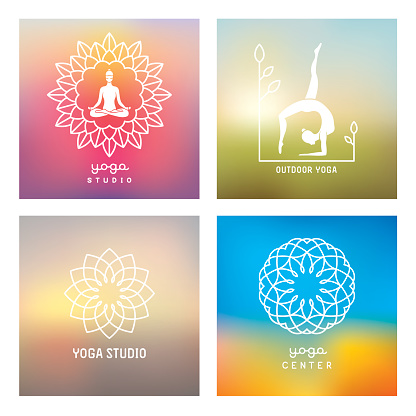 Yoga design elements and emblems