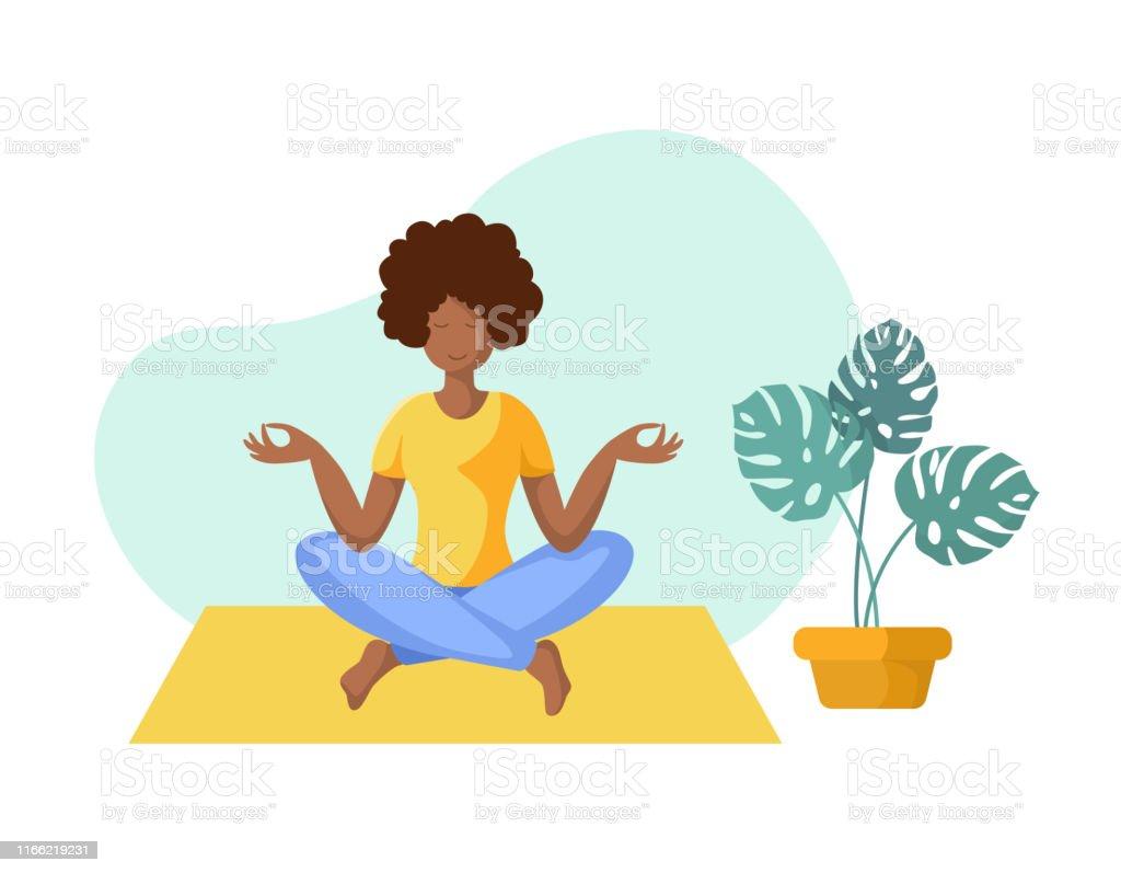 Yoga verschillende mensen - Royalty-free Afrikaanse etniciteit vectorkunst