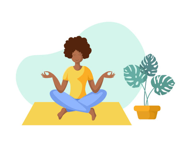 Yoga Different People Young african american woman doing yoga on mat, girl is in lotus pose doing exercise and meditation. Female character in flat style. Isolated figure and potted flower, vector illustration meditation stock illustrations