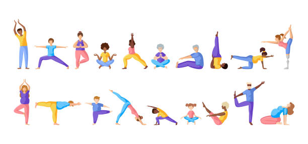 Yoga Different People Different people doing yoga, adults, children, elderly men and women doing sport exercises. African Americans and Europeans - large group of persons. Isolated elements on white background, vector set yoga stock illustrations