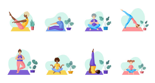 Yoga Different People Different people doing yoga, adults, children, elderly men and women doing sport exercises. African Americans and Europeans - large group of persons. Isolated elements on white background, vector set prayer pose yoga stock illustrations