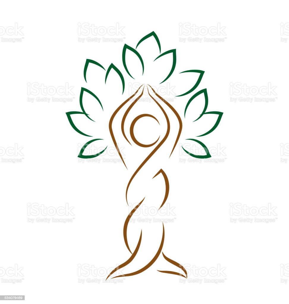 Yoga emblem with abstract tree pose isolated on white vector art illustration