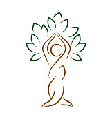 Yoga emblem with abstract tree pose isolated on white