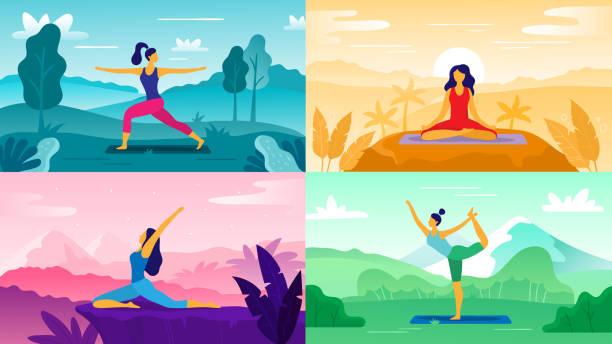 illustrazioni stock, clip art, cartoni animati e icone di tendenza di yoga exercise on nature. relax outdoors exercises, healthcare fitness and healthy lifestyle. yoga poses flat vector illustration set - woman portrait forest