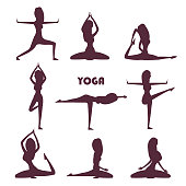 istock Yoga exercises and meditation female silhouettes 1253240795