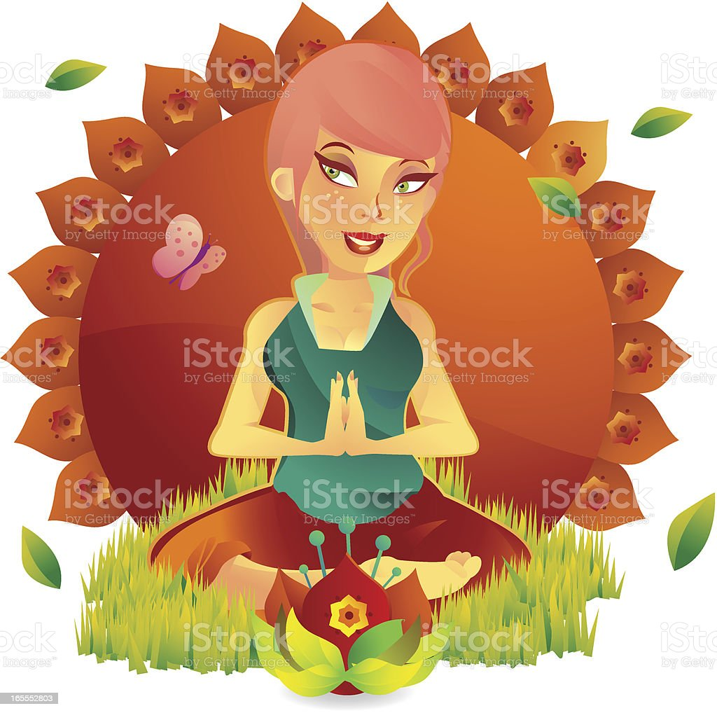 Yoga Fitness Girl vector art illustration