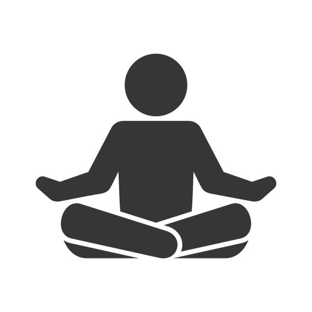 yoga fitness icon. lotus position on white background. vector - meditating stock illustrations