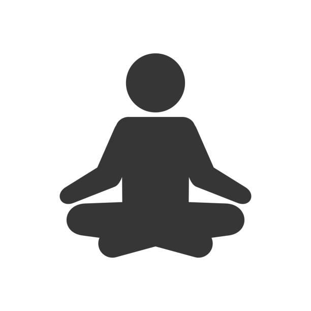 bildbanksillustrationer, clip art samt tecknat material och ikoner med yoga fitness ikon. meditation logo typtecken på vit bakgrund. vektor - korslagda ben