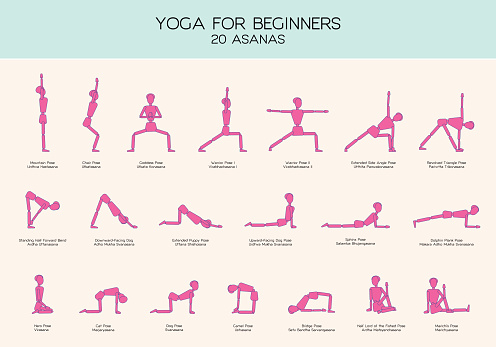 yoga for beginners poses stick figure set stock