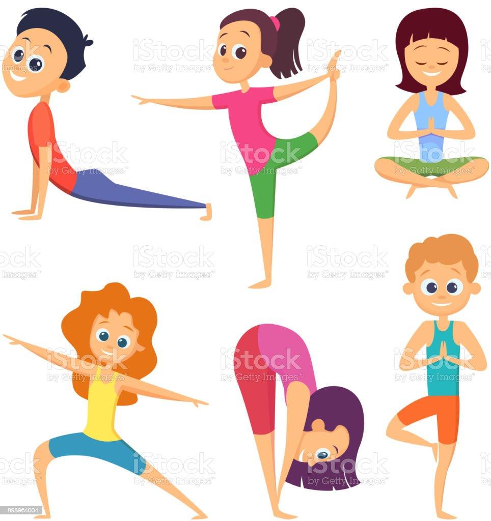 Yoga para niños. Felices los niños realizar diferentes ejercicios. Conjunto  de personajes de dibujos bea3e3f03cd1