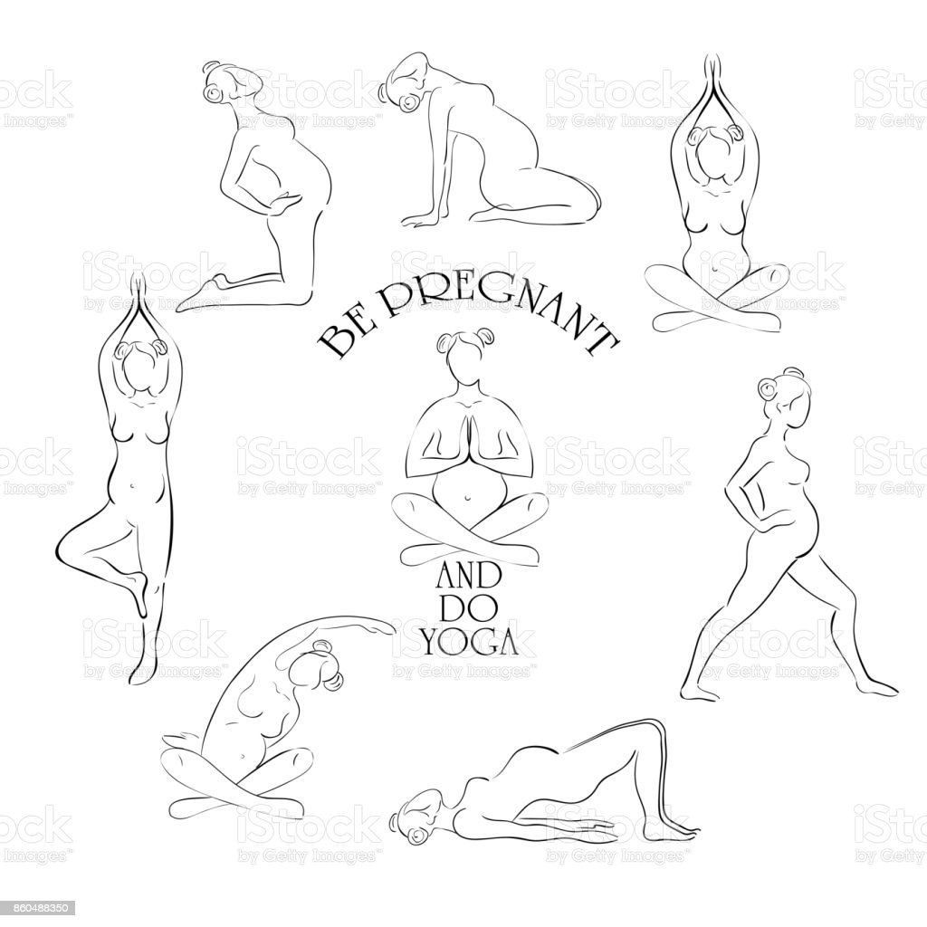 Yoga for pregnant vector set vector art illustration