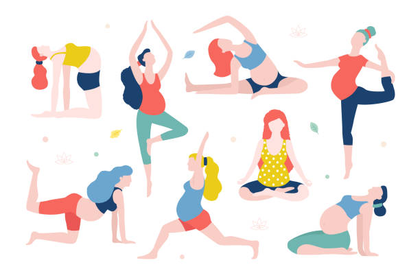 Yoga for pregnant women vector flat illustration isolated on white background. Healthy women with belly doing yoga in different poses. vector art illustration