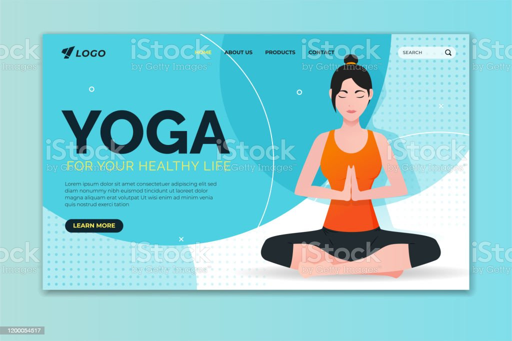 Yoga For Your Healthy Life Landing Page Woman Doing Lotus Pose Web Page Design For Website And Mobile Website Stock Illustration Download Image Now Istock