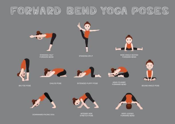 Yoga Forward Bend Poses Vector Illustration Yoga Posture EPS10 FIle Format childs pose stock illustrations