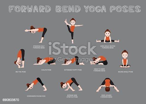 yoga forward bend poses vector illustration stock vector