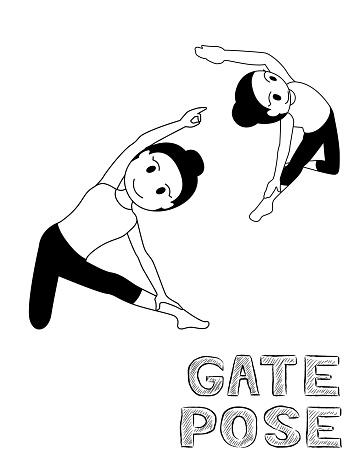 Yoga Gate Pose Cartoon Vector Illustration Monochrome