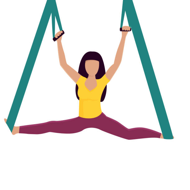 yoga-mädchen, die splits mit hängemattenvektor-illustration. - spagat stock-grafiken, -clipart, -cartoons und -symbole