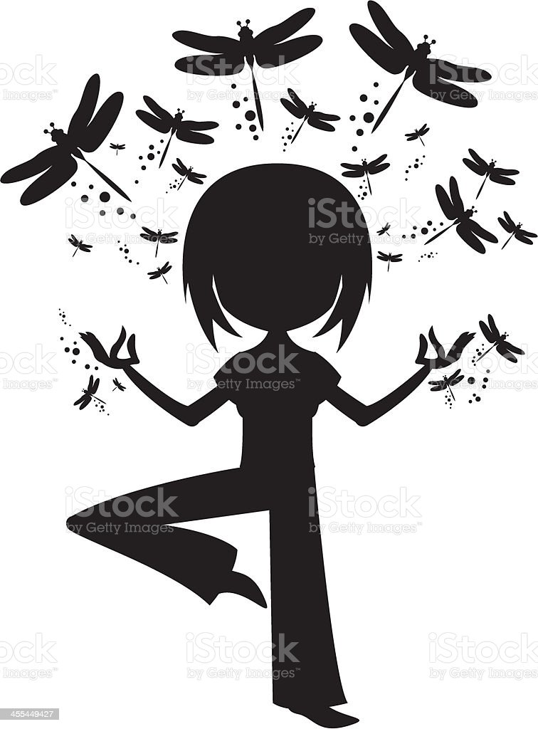Yoga Girl in Silhouette with Dragonflies royalty-free yoga girl in silhouette with dragonflies stock vector art & more images of adult