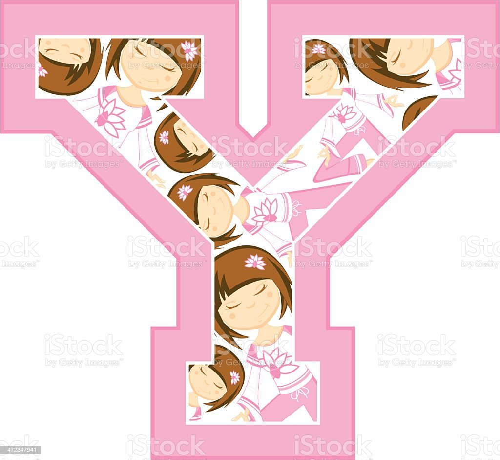 Yoga Girl Patterned Learning Letter Y vector art illustration